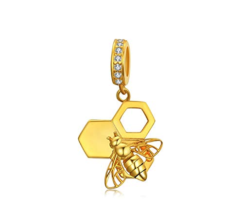 EVESCITY Stunning Quality Many Styles Silver Pendents 925 Sterling Beads Fits Pandora, Similar Charm Bracelets & Necklaces (Bumble Bee Honeycomb Gold)