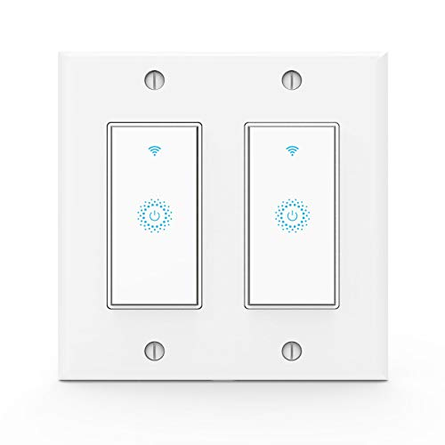 Kkcool Smart Switch-WiFi Smart Light Switch Work with Alexa, Google Home, IFTTT, Wireless Control, 2.4G WiFi Smart Light Switch, Single-Pole, Neutral Wire Required, No hub, 2 Gang