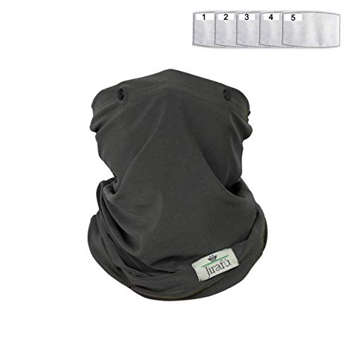 Face Mask Reusable Cloth Washable Neck Gaiter Disposable Activated Carbon Filter Pocket Men Women Shield Breathable Cotton Fabric Covering Respirator Nose Mouth Cover Cooling Summer Heat Dust (GREEN)