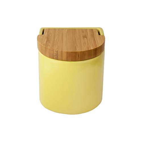 KOOK TIME Salero de Cocina de Cerámica con Tapa de Madera de Bambú Basculante, 11.7 x 11.5 x 11.3 cm, Color Lima Nórdico