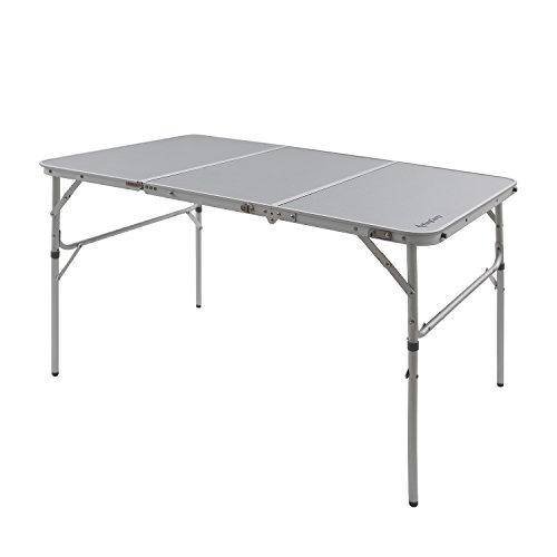 KingCamp 3-Fold Camp Table with Carry Bag Aluminum Alloy Frame Adjustable Height Collapsible...