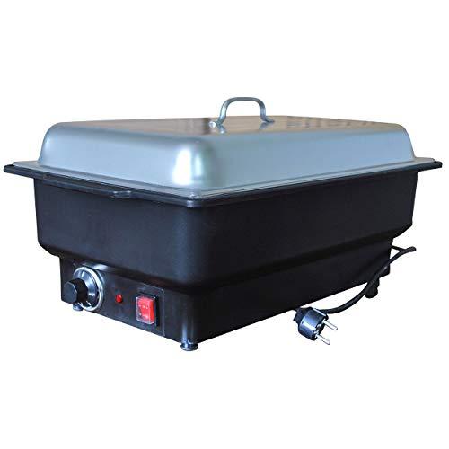 Chafing Dish mit Edelstahldeckel Speisewärmer elektrisch GN 1/1 Tiefe 100 mm