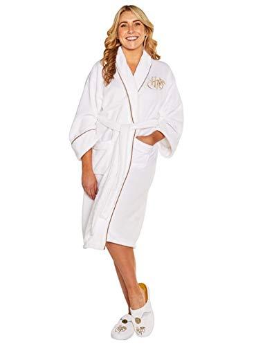 Groovy Golden Snitch Harry Potter - Bata de forro polar para mujer, color blanco, sin capucha, talla única