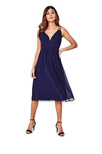 Little Mistress Damen Sacha Navy Hand-Embellished Cami Strap Midi Kleid, Blau 001, 40 (Herstellergröße: 12)