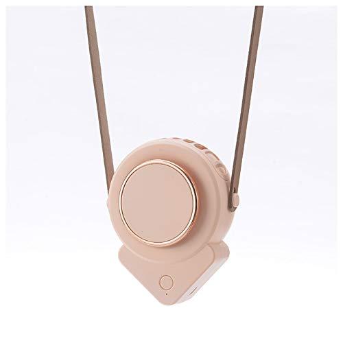 VAST Ventilador triángulo sin hojas USB para colgar al aire libre, cuello deportivo, ventilador perezoso, de mano, mini sitio de construcción portátil al aire libre (color: rosa)