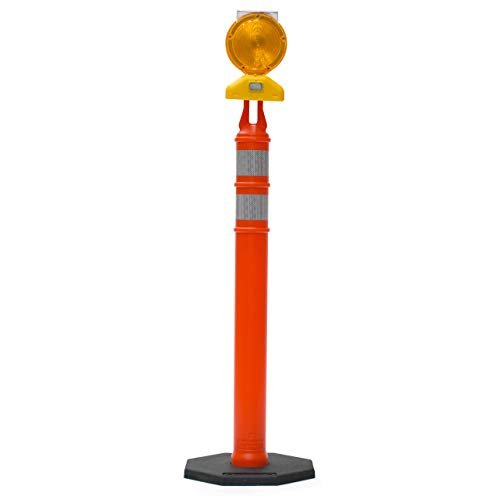 Work Area Protection 18PVCS Polyvinyl Chloride Standard Traffic Cone with 4' VSB Reflective Collar, 7-1/4' Diameter x 18' Height, Fluorescent Orange