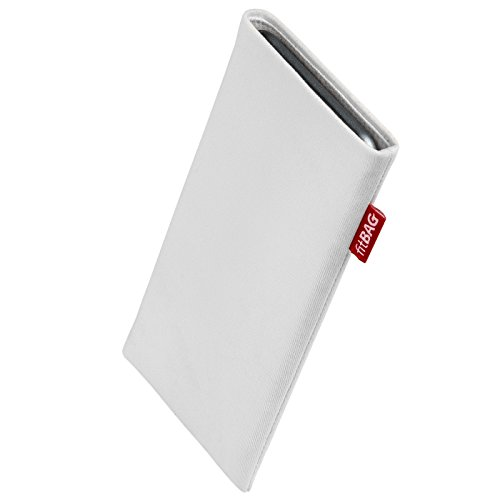 fitBAG Rock White Custom Tailored Sleeve for Elephone P9000 Edge. Fine Suit Fabric Pouch with Integrated Microfibre Lining for Display Cleaning