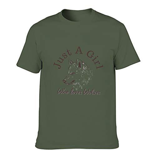 Camiseta de algodón para hombre con texto 'Just A Girl Loves Wolves', muy suave verde militar S