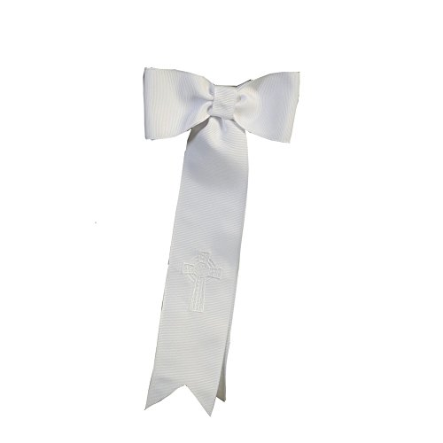 Lito Boys White Grosgrain Ribbon Embroidered Celtic Cross Arm Band