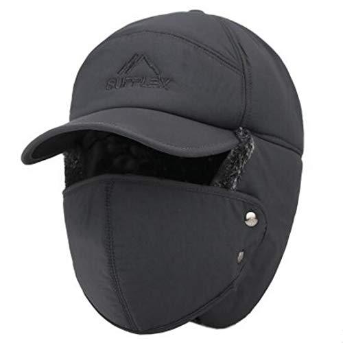 Sombreros térmicos de Invierno Hombres Mujeres Moda Protección para los oídos Cara Gorra de esquí a Prueba de Viento Velvet Thicken Pareja Sombrero-Gray-56-60cm(Adjustable)