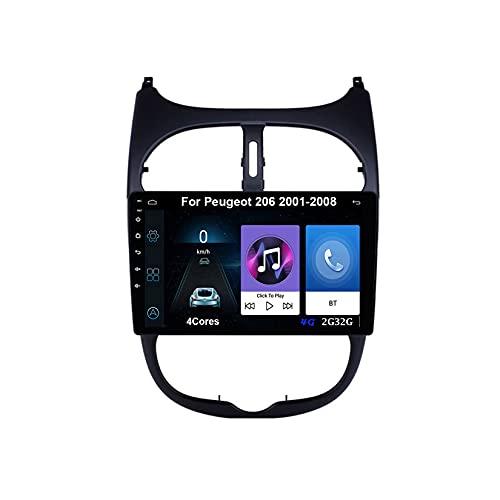Autoradio Android Car Radio Stereo 9 Pulgadas Pantalla Táctil Para Peugeot 206 2001-2008 Para De Coche Conecta Y Reproduce Autoradio Mit Bluetooth Freisprecheinrichtung (Color : 4Cores 4G 2G32G)