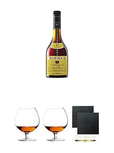 Torres 10 Jahre Brandy 0,7 Liter + Cognacglas/Schwenker Stölzle 2 Stück + Schiefer Glasuntersetzer2 Stück