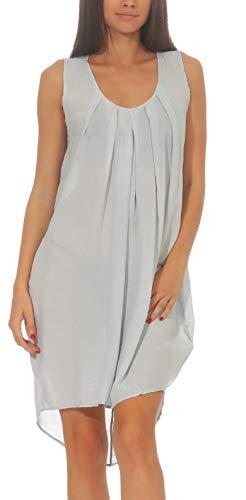 Malito Damen Sommerkleid Knielang   Elegantes Kleid für den Strand   klassisches Freizeitkleid   Partykleid 1120 (hellgrau)