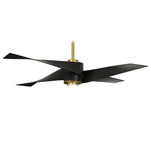 Minka-Aire F903L-SBR/MBK Artemis IV 64 Inch Ceiling Fan with LED Light and DC Motor in Soft Brass...