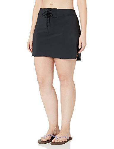 Amazon Brand - Coastal Blue Women's Plus Size Swimwear Drawstring Front Boardskirt, Black, 3X (24W-26W)