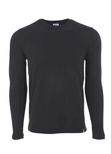 Avalanche Men's Moisture Wicking Crewneck Grid Fleece Long Sleeve Base Layer Top Black M