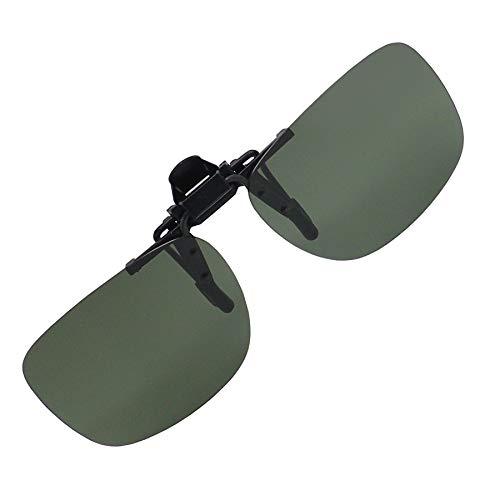 偏光 前掛け クリップ 式 サングラス メガネの上から 紫外線カット UV400 カット 超軽量 跳ね上げ式 OTCMSG2 (Dグリーン)