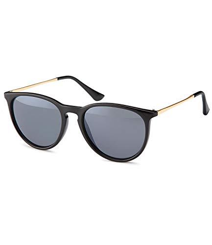 Caripe Retro Sonnenbrille Vintage Panto Damen Herren Holz-Optik Metallbügel verspiegelt + getönt - 139 (Big schwarz Black getönt 1005)