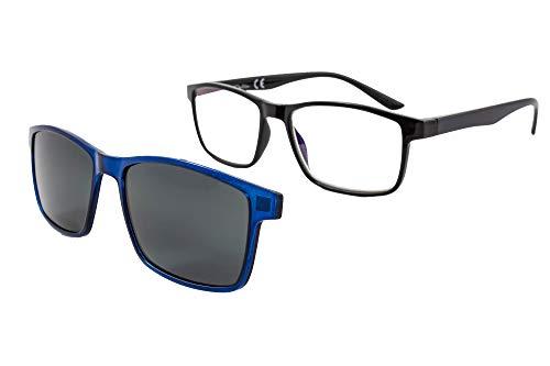 PACK 2 Gafas de lectura con imán para sol - Gafas de presbicia - Vista cansada graduadas - Unisex - Mujer - Hombre - 6016 (C3-2, 2.00 Dioptrías)