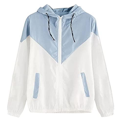 Otoño e invierno para mujer Sudaderas con capucha de colores mezclados Bloque de color túnica manga larga Jersey cordones Tops bolsillos cremallera casuales Camisetas deportivas al aire libre sueltas