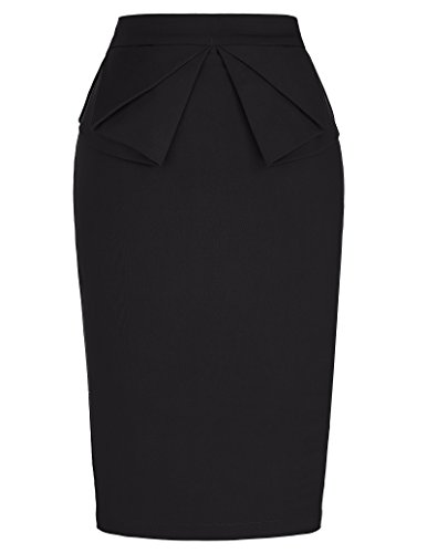 Women's Solid Black Stretch Bodycon Midi Pencil Skirt Wear to Work S Black