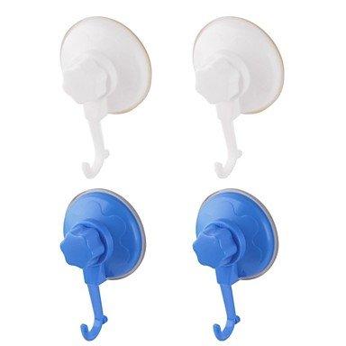 Miaoge® de salle de bain Crochet simple avec puissant Ventouse, une Suite de 4 montées, 2 blancs, 2 Bleu, A6061-c3