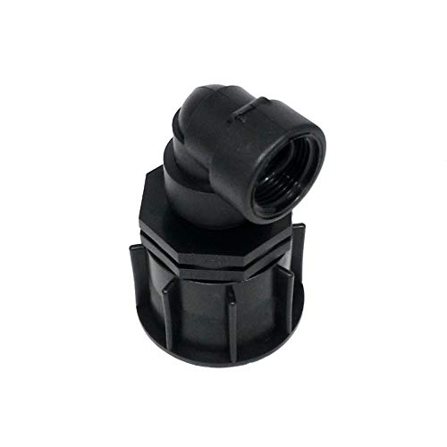 AME80 _ 84 Bec Adaptateur S60 x 6 filetage épais avec raccord de réduction AG 1 + Adaptateur angle 90 °, IBC Réservoir Eau de Pluie de Accessoires de conteneurs Mamelon de Bidon, tonne, zysterne