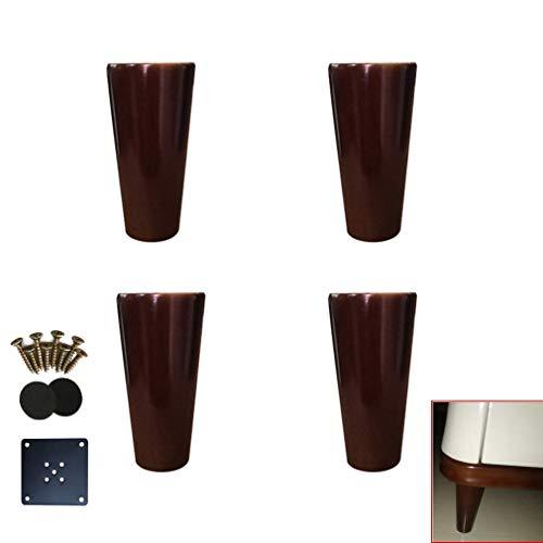 DX meubelpoten van massief hout, voeten voor banken van eikenhout, conische tafelpoten, reservepoten, walnootkleuren, voor bed, salontafel, tv-meubel, eenvoudige montage (