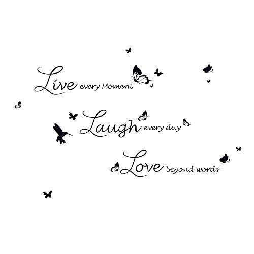 decalmile Vinilos Frases Live Love Laugh Mariposa Pegatinas de Pared Decoración del Hogar para Sala de Estar Dormitorio Oficina