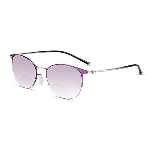 JJCFM Mehrere Progressive Fokus Ms Lesebrillen Sonnenbrillen, Anti-Blau Nah Und Fern Dual-Purpose Gläser, HD Auto-Zoom Mittleren Alters Und Ältere Leser,+3.00