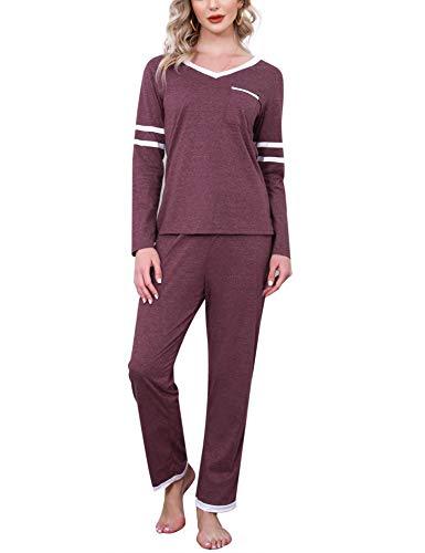Aiboria Pijamas de Mujer, Mujer Invierno Manga Larga Algodón Pijamas Ropa de Dormir 2 Piezas Tops y Pantalones