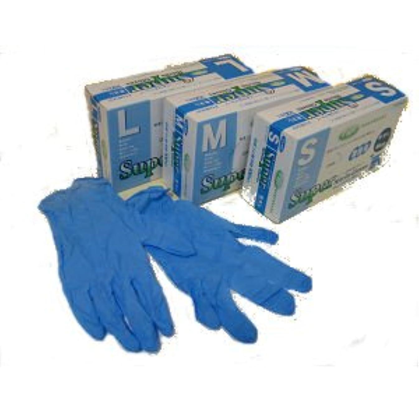 きちんとした留め金通知スーパーニトリルグローブ粉なし100枚ブルー M