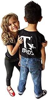 T Birds تی شرت پسرانه پیراهن Greaser پیراهن سیاه Tshirt سیاه رعد و برق راک سیاه 1950s دهه 50 فیلم 18M به جوانان XL موسیقی رقص جوراب هاپ