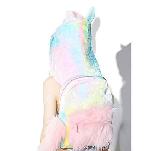 LICHUXIN Mit Kapuze Rucksack, Tie-Dye mit Kapuze Tierrucksack, kreative Bunte Schulranzen, Damen Mädchen Rucksack für Outdoor-Klassenfahrt mit abnehmbarem Rucksack