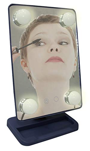 Espelho para maquiagem Vivitar Vanity Mirror com iluminação por LED e rotação 360° - Cinza, VIVITAR, Cinza