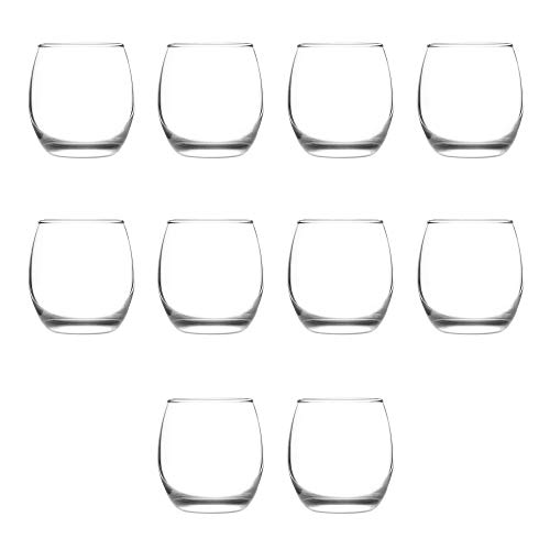 11.5 oz. - 10 Pack - Mikonos Stemless Wine Glasses - Clear