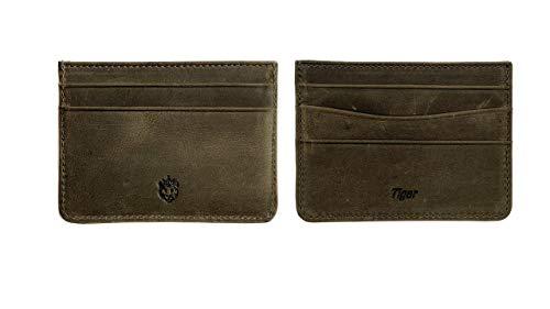 Crown & Tiger - Tarjetero para Tarjetas de Crédita de Cuero Vintage - para 5 Tarjetas y con Compartimento para Billetes Plano - Vintage Design (Crazy Light)