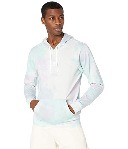 adidas Mens Essentials Hoodie Clear Mint/Clear Lilac/White Large