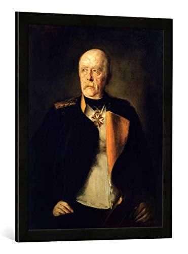 Gerahmtes Bild von Franz Seraph von Lenbach Otto von Bismarck, c.1890, Kunstdruck im hochwertigen handgefertigten Bilder-Rahmen, 50x70 cm, Schwarz matt