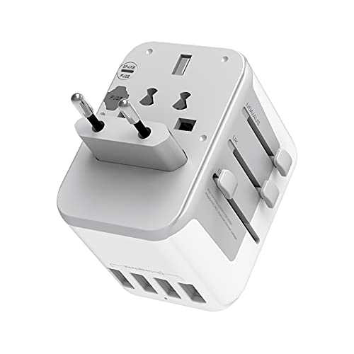 International Travel Adapter with 4 USB Outlets, TESSAN Universal European...