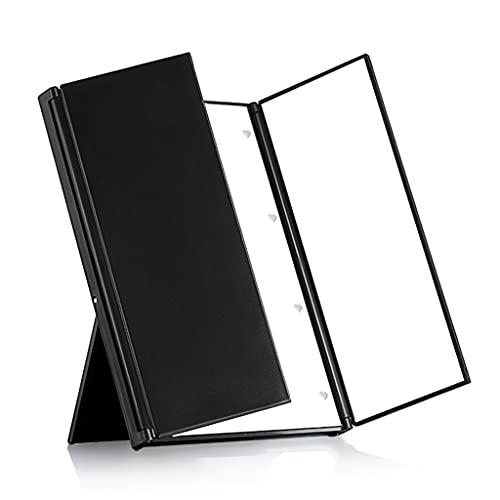 ZCZZ Botón Batería LED Espejo de Maquillaje Espejo de Escritorio portátil Espejo de lámpara Plegable Grande de Estilo Europeo (Color: Negro)