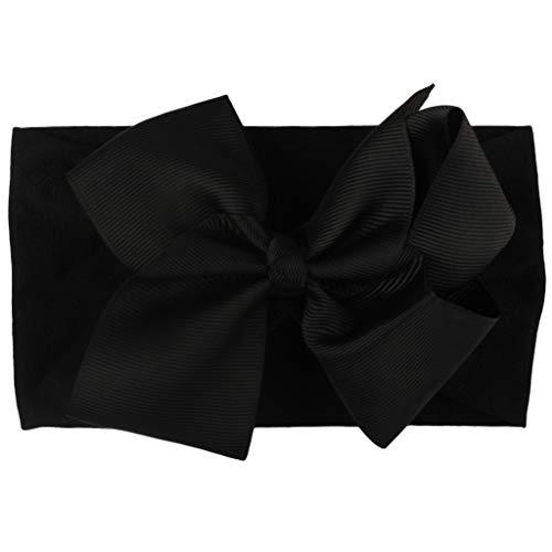 Serre-tête pour enfant avec nœud papillon solide pour bébé fille, princesse Turban pour fête d'anniversaire, cadeau de fête des enfants, festival, studio photo Noir Size
