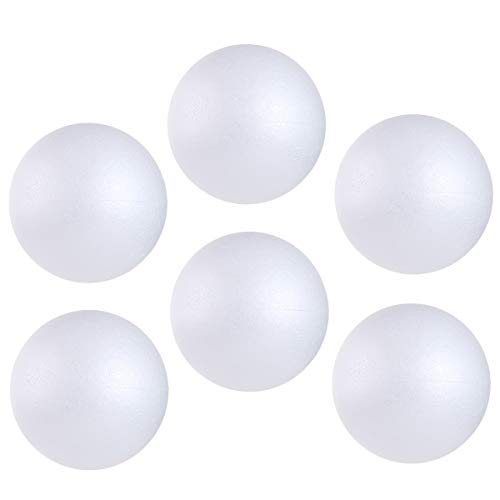 CCINEE 6PCS 6 Inch White Foam Balls Polystyrene Craft Balls Styrofoam Balls for Art, Craft, Household, School Projects and Christmas Easter Party Decorations