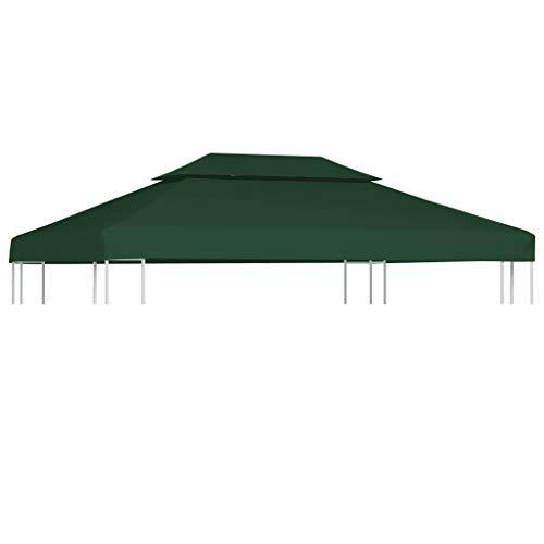 GOTOTOP - Funda de repuesto para cenador de 3 x 4 m, cubierta superior para cenador, lona impermeable de repuesto para cenador de 310 g/m² (no incluye el marco de la cenadora), color verde
