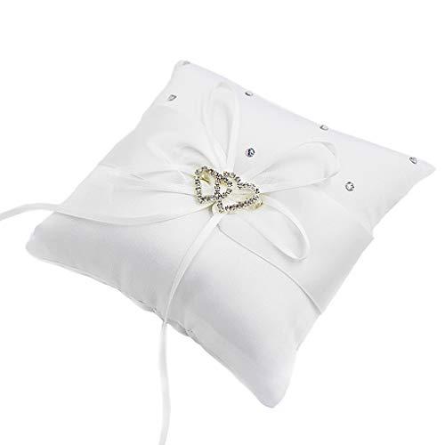 Fenteer Kreative Ringkissen Eherring Kissen Traukissen Ringträger Ringhalter, Geschenk für Brautpaar - Weiß 10x10cm