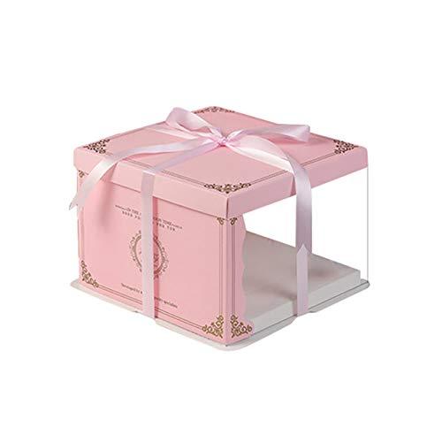 geschenkdoos LKU 10 inch taartdoos transparant rond transparant transparant taak bloem geschenkdoos Lego geschenk, enkeldeks roze