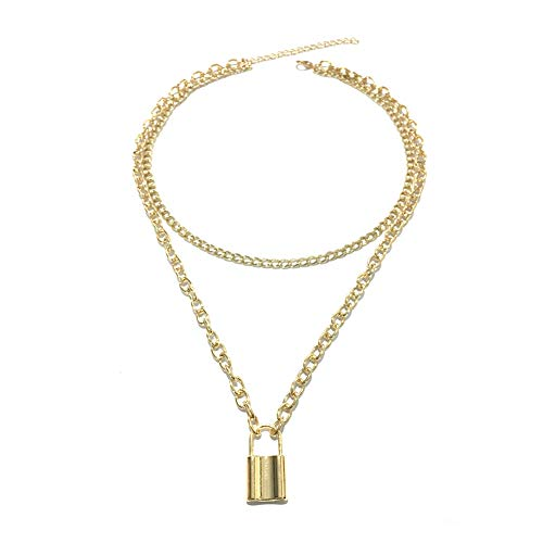 Cerolopy Lock Pendant Necklace Punk Chain Choker Necklace for Women and Men Long Multilayer Chunky Choker Necklace Jewelry Gift(Gold)