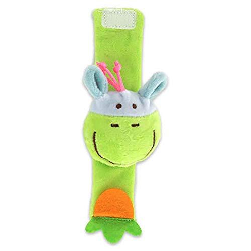 Da.Wa Infantil Piezas Animal del Bebé de la Muñeca de la Muñeca Traqueteos Correa de Muñeca Suave Juguete Educativo para Bebés (Pequeño Burro Verde)