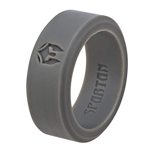 Spartan Silicone Wedding Ring for Men – Premium & Affordable Silicone Wedding Ring for Women, Stylish & Fashionable Rubber Rings for Men, Durable & Safe Ring for Athletes Sport Gym (Grey, 11)