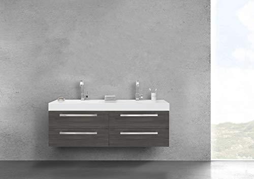 Intarbad ~ Doppelwaschtisch 160 cm mit Unterschrank, Evermite Waschtisch, 4 Auszüge Grau Matt Lack IB1541